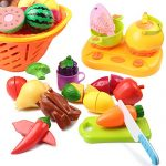 Pretend Play Food Set,AMOSTING 20 Piece Kids Safe Food Play Set,Cutting Fruits and Vegies Educational Toys Cooking Kitchen Set