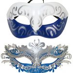 Couple Masquerade Metal Masks Venetian Halloween Costume Mask Mardi Gras Mask (White-Blue+Sliver-Blue)