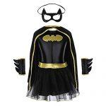 Batgirl Tutu Dress Child Halloween Costume Superhero Dress for kids Set of 4PCS (Medium)