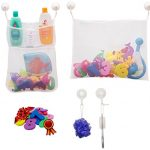 SODAH Club Bath Toy Organizer Set - Bath Toy Storage For Toddlers - 2 x Bath Toy Net Organizers + 6 Ultra Strong Hooked Suction Cups + Educational EVA Foam Numbers & Shapes - For Mold Free Bath Toys