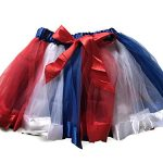 Rush Dance BIRTHDAY RAINBOW RIBBON BOW Ballerina Girls Dress-Up Princess Costume Tutu (Medium (2-4 Years), Red, Blue & White)