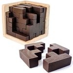 3D Wooden Brain Teaser Puzzle by Sharp Brain Zone. Genius Skills Builder T-Shape Pieces with Tetris Fit. Educational Toy for Kids and Adults. Explore Creativity and Problem Solving. Painted Finish