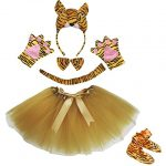 Petitebella 3D Tiger Brown Bowtie Gloves Tutu Shoes 6pc Girl Costume Set (One Size)