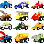 Pull Back Vehicles - Assorted Construction Vehicles and Racer Cars Toy, Die Cast Vehicle Truck Mini Car Toy Play Set For Kids Birthday Game, Party Favors, Classrooms Rewards (12 Pcs )