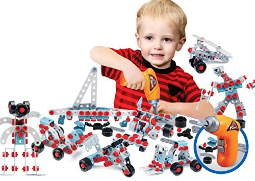 3D Creative Builder [280 pcs] Educational Kids Engineering Construction Building Toy with Power Drill