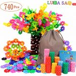 LUBA SAN Building Blocks Brain Flakes 740 Pcs Plastic Building Discs Toy Set Creative and Educational Snowflakes Toy Set with Storage Bag for Boys and Girls