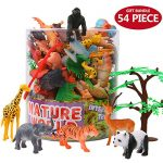 Animals Figure,54 Piece Mini Jungle Animals Toys Set With Gift Box,ValeforToy Realistic Wild Animal Learning Party Favors Toys For Boys Girls Kids Toddlers Forest Small Farm Animals Toys Playset