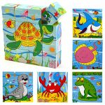 Joyeee 16 Pcs Wooden Cube Block Jigsaw Puzzles - Ocean World Pattern Blocks Puzzle for Child 3 Year and Up -- Perfect Christmas Gift Idea