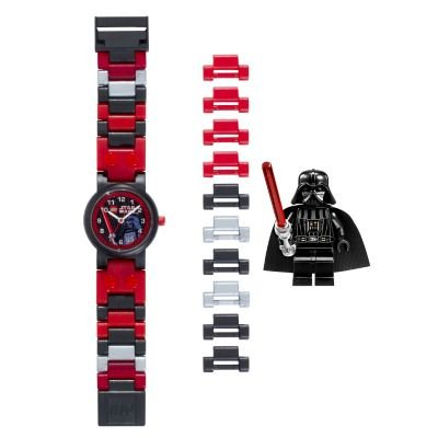 LEGO Star Wars Darth Vader Kids Buildable Watch with Link Bracelet and Mini Figure | red/black | plastic | 28mm case diameter | analog quartz | boy girl | official