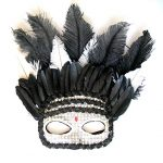Black Silver Glitter Feather Mask Mardi gras Halloween costume