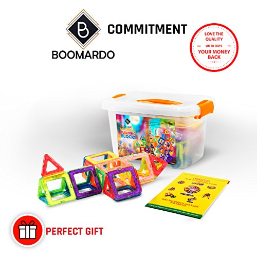 BOOMARDO Magnetic Blocks, Magnetic Building Set 108 PCS, Magnetic Tiles Brain Development Toy, Intelligent Magnetic Construction Set Educational Toys for Toddlers/Kids
