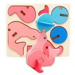 3D Puzzle, Kingspinner 18 Kinds Of Animals Montessori Mini Kids Educational Funny Toy Wooden Colorful Jigsaw Gift Brain Toys (Dolphins)