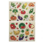 Home Learning Preschool Early Educational Develoment Colorful Fruit and Vegetables Wooden Peg Puzzle Jigsaw Bundle Shape Toys and Games for Age 2-7Year Olds Child Children Boys Girls