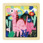 ROBOTIME Wooden Dinosaur Baby Jigsaw Puzzle with Storage Tray Learning Toys for Kids Age 1-4 (9pcs)