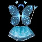 BOBORA Fairy Girl Butterfly Wing Wand Headband Tutu Skirt Halloween Costume Set (Blue-2)