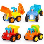 Fu T Toddler Baby Toy Push And Go Friction Powered Car Toys, Tractor, Bulldozer, Mixer Truck And Dumper For Children Kids Boys And Girls Puzzle Growth 1 To Year 3  Old, Sets of 4