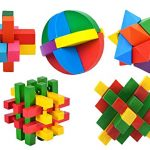 Arsmt 3D Wooden Puzzles Intelligence Game for Children Kids Adult Geometric Educational Learning Brain Teasers Toy Kongming Lock Pack 5 set