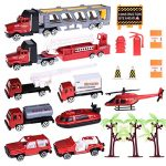 Fire Cars Play Set Diecast Trucks Play Set Vehicles for Boys Mighty Fire Rescue Fire Toy Set for Kids with Tow Truck, Truck, Jeep, Boat, Semi Truck, Helicopter and Accessories- 19pcs
