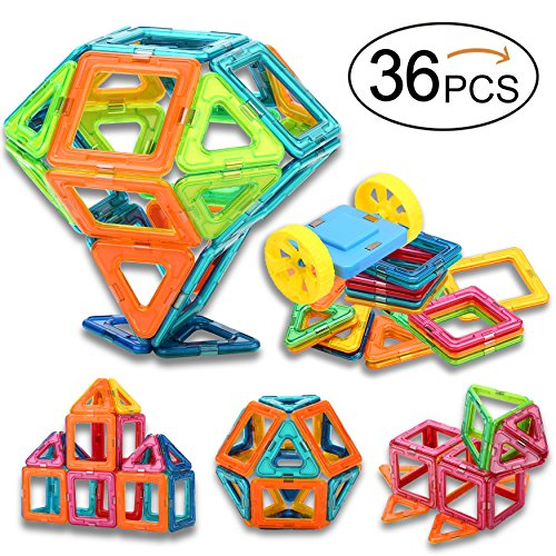 Magnetic Building Blocks, Sunwing 36PCS Magnets Toy Set for kids, Magnets Tiles Educational Toys for Boys and Girls