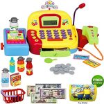Toy Cash Register For Kids - Pretend Supermarket Toy for Boys or Girls - Cashier Toy with Working Mic, Scanner & Calculator - Play Money Cash and Coins and more. BONUS: Toy Wallet
