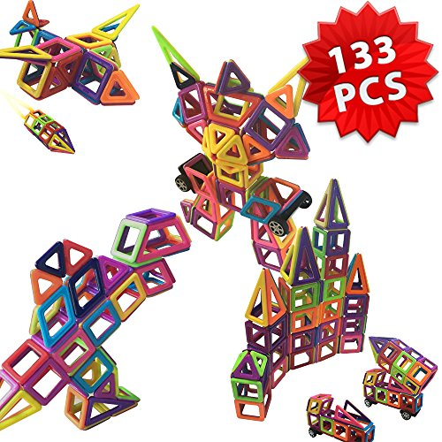 Magnetic Building Blocks Toys - ONIPU 133 PCS 3D Puzzle Stacking Blocks Magnet Building Tiles Set Educational Construction Toys for Toddlers Kids Boys Girls with Storage Box (Grown-Up Toys)