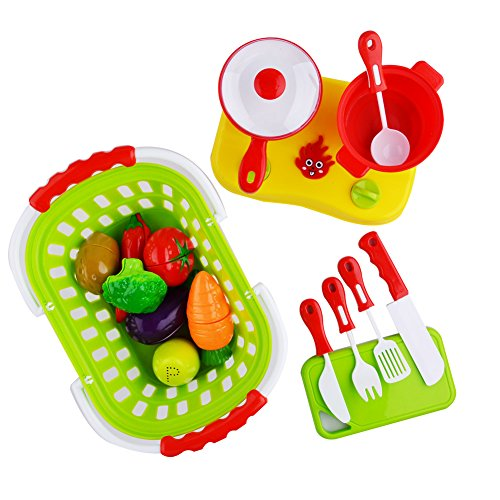 Acekid 20pcs Cutting Food Set Kid Pretend Cooking Toys Playset Plastic Fruits Vegetables with Basket Cookware Stovetop