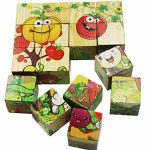 Wooden Cube Puzzles for Kids and Toddlers, Six Face 3D Cubes Blocks Jigsaw Puzzles, Early Development Toy