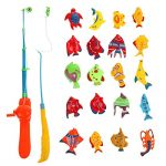 20pcs Magnetic Fishing Toys Bath Toys Children Fishing Game Set Kids Toy with Two Fishing Poles for Toddlers Learning Education