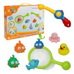 Bath Toy Fishing Game Bathtub Toys with Floating Fish and Fishing Net Fishing Rod for Kids Girls Boys, Color May Vary