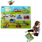 Dazzling Toys Kids Favorite Various 2 to 3 Inch Vehicles Wooden Puzzle.