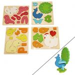 Dazzling Toys 3D Wooden Assemble Farm Animals, 4 pack