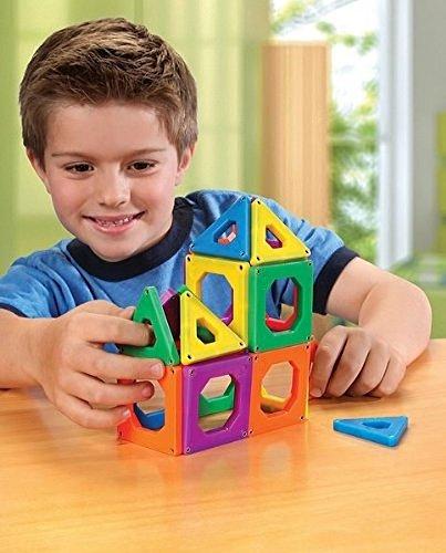 DISCOVERY KIDS 24 Piece Best Magnetic Tile Set, Magnetic Building Blocks Kit for Boys/Girls, 2D, 3D Educational Creativity, STEM Toys for Children