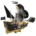 3D Wooden Puzzle Toy Mini Ship Boat Model, Great Gift Educational Build Jigsaw Toys for Kids, Adults(Pirate ship)