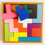 Jumbo Size Wooden Tetris Game Tangram New Style 13 Pcs Brain Teaser Puzzle for Kid Toys Educational 3D Jigsaw Puzzles, Smooth-Bright Color, Good Quality Beech Wood, Gift For Children Aged 3-15 Year