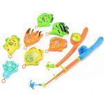 Emorefun Hook and Reel Fishing Toy Playset Various Fish Model Pretend Play Fun Bath Toy Basic Educational Development Fishing Travel Table Game Birthday Gift Toy for Kids, Children, Baby Toddlers