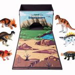 Dinosaur Toy Chest Storage Box Organizer, 6 Bonus Figures with Kids Play Mat Playset, Birthday Party Supplies