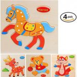 Vytung 3d Jigsaw Puzzles for Girls Boys Toddlers Babies Kids Wood Jigsaw Puzzle Toys for 2-5 years(Pack of 4)-Wild Animal-Deer Bear Horse Fox