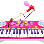 Happy Face 37 Keys Electric Organ Children's Kid's Battery Operated Toy Piano Keyboard Instrument w/ Microphone (Pink)