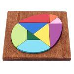 CH Children Puzzle Toys Wooden Egg Puzzle Tangram Puzzle 3D Geometric Shape Wooden Educational Toys