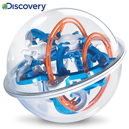 DISCOVERY KIDS 3D Maze Globe Ball Puzzle Toy, Educational Interactive Brain Teaser for Children, 80 Challenging Obstacles & Multiple Routes, Rails, and Tunnels; Encourages Problem Solving; Ages 3+