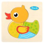 Colorful Wooden 3D Dimensional Thicker Puzzles, E-SCENERY Early Educational Developmental Building Blocks Game For Toddlers Kids Baby, Wooden Brain Training Puzzle (Duck)