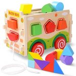 Large Wooden Shape Sorter Bus with Tangram ,Classic 3D Push Pull Truck Toy for Toddlers & Baby Color Recognition and Geometry Learning(20 Blocks and Carry Case Included)