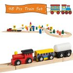 Jacootoys Joqutoys Figure 8 Train Set Tracks with Cars WoodenToys for Kids, 48 Pieces