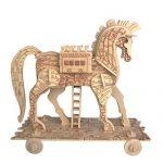 Baidecor 3D Wooden Puzzle Trojan Horse Kids Jigsaw Model Kits Woodcraft Toy