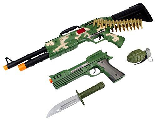 Camo Combat Force Army Soldier 4 Piece Children Kid's Pretend Play Battery Powered Toy Gun Playset w/ Gun, Pistol, Knife, Grenade
