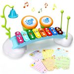 HOMOFY Baby Toys Xylophone for Kids Rainbow Xylophone Bridge with 8 Bright Multi-Colored Keys,Ringing Bell and Drums,The Best Musical Instrument Toys for Boys and Girls