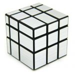 3 x 3 Mirror Cube Puzzle, Jopuzia Brushed Mirror Sticker 3D Puzzle Speed Cube Magic Cube Puzzle Toy, Silver Black
