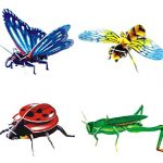 Set of 4 Creative 3D Insects Jigsaw Puzzles Assembling Puzzles Small Toys