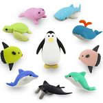 Ocean Adventure Kawaii Japanese Mini Puzzle Erasers Novelty Collectibles Party Favors School Supplies (Pack of 10)