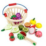 BATTOP Cutting Fruit Set Basket - Magnetic Wooden Pretend Play Food Kitchen Toys Kids(Fruit)
